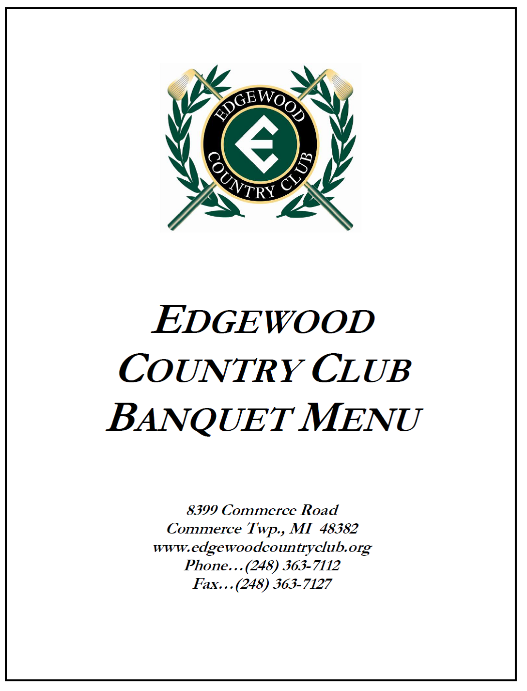 Edgewood Country Club View Library Document: Sample Menus